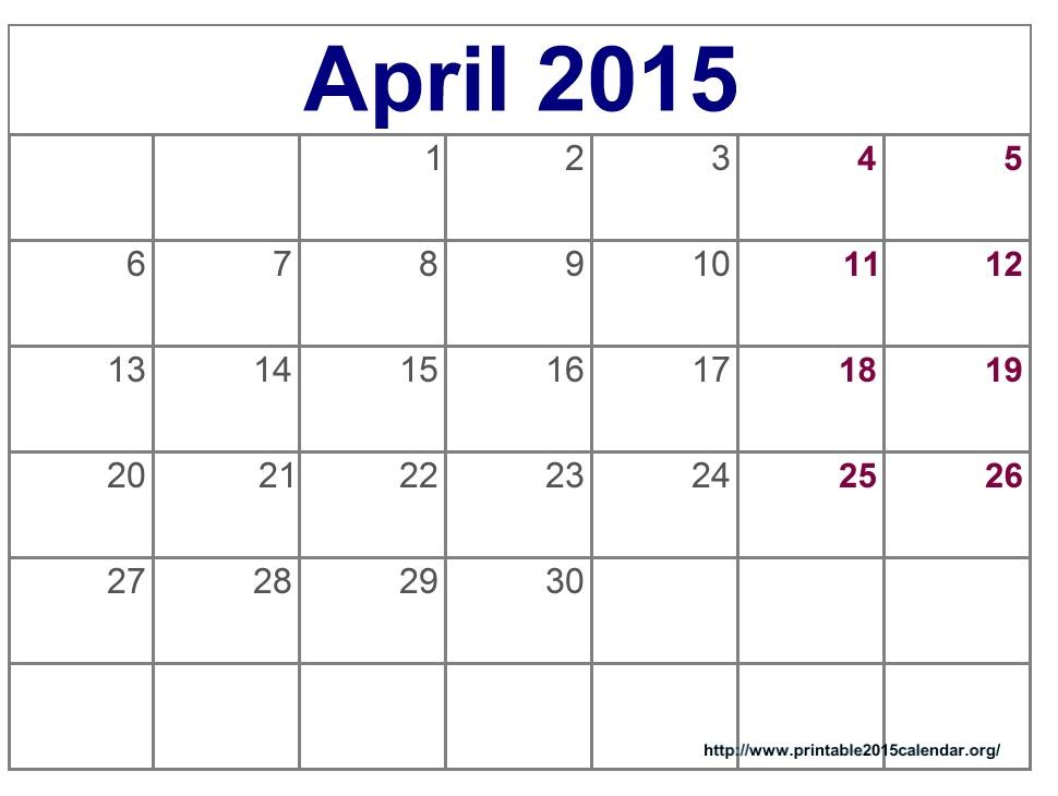 5 Best Images Of April 2015 Calendar Printable