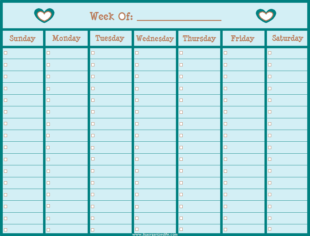 5 Best Images Of Free Printable Lined Weekly Calendars