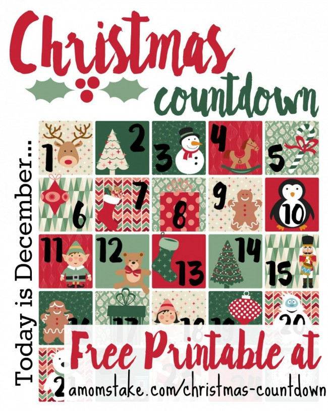 6 Best Images Of Countdown To Christmas Printable Chart