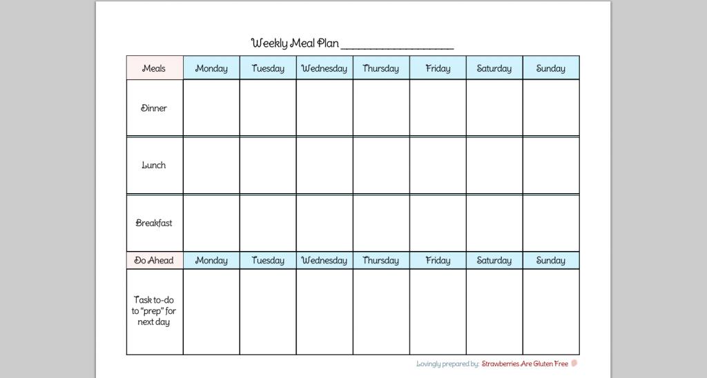 6 Best Images Of Daily Menu Planner Printable Pdf