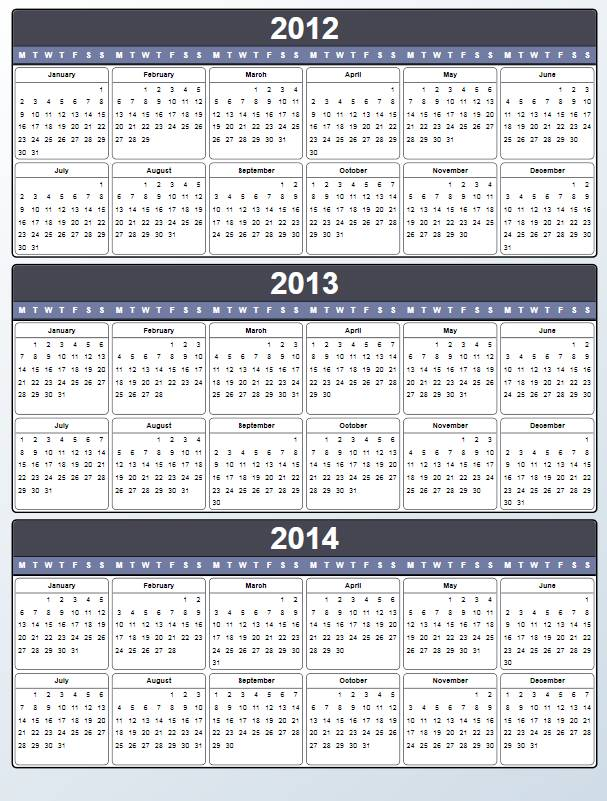6 Best Images Of Printable 2013 2014 2015 Yearly Calendar