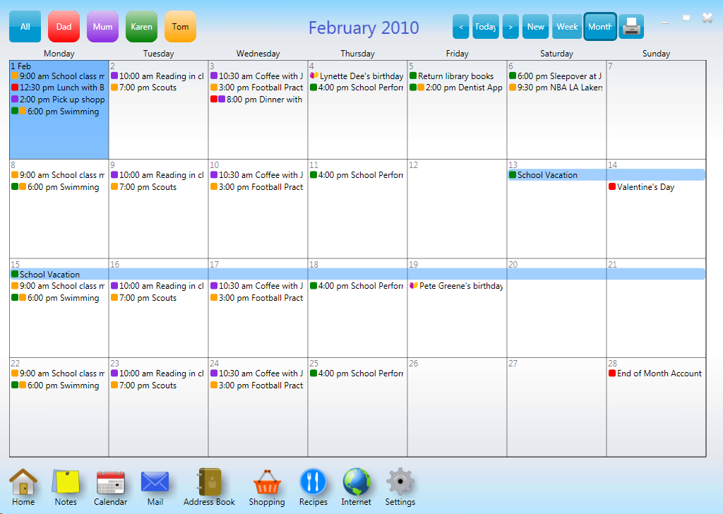 Organizational Calendar : Printable family calendar template