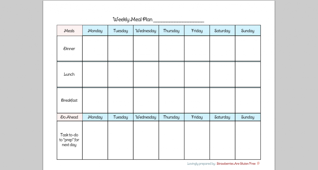6 Best Images Of Printable Weekly Menu Chart