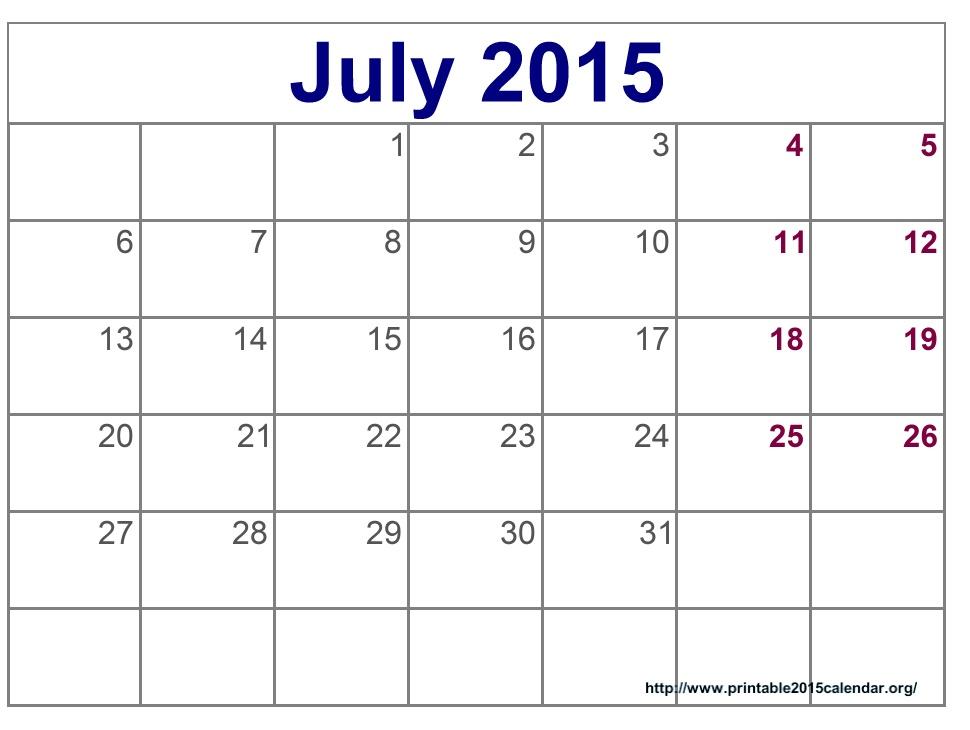 7 Best Images Of Free Cute Printable Calendars July