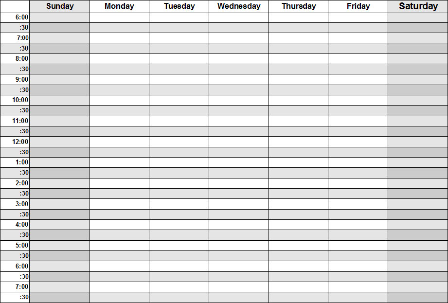 7 Best Images Of Printable Blank Hourly Weekly Schedule
