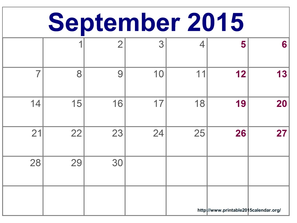 September 2015 Calendar Template Printable Doritrcatodos