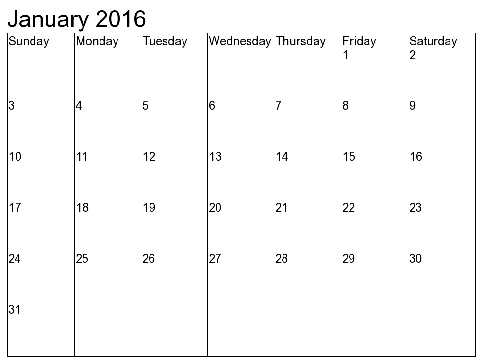 8 Best Images Of Printable Blank Calendar January 2016
