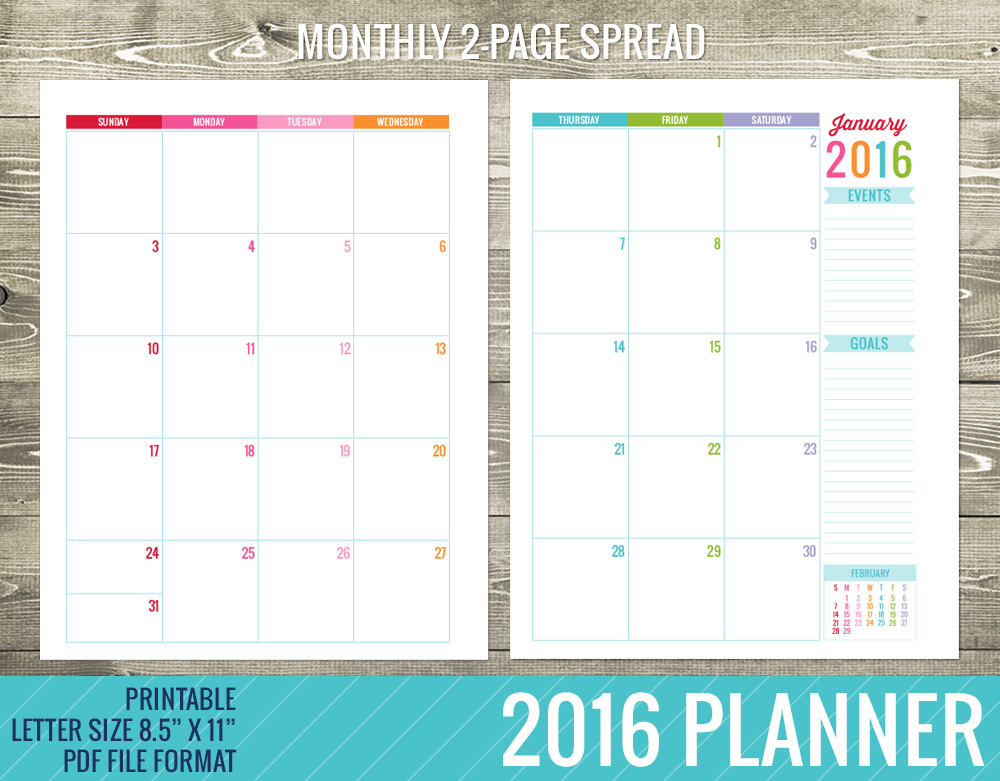8 Best Images Of Printable Planner 2016