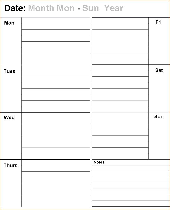 Blank Calendar Template Monday Through Friday