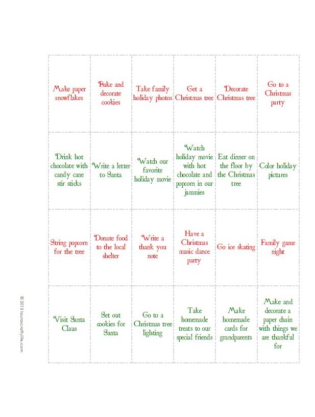 Advent Activities Calendar Printable