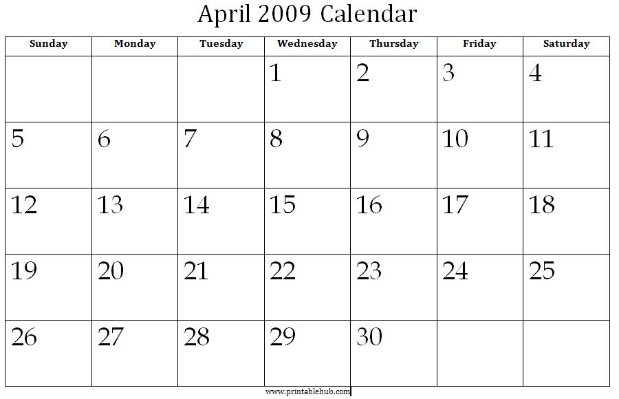 April 2009 Printable Calendar Â« Printable Hub