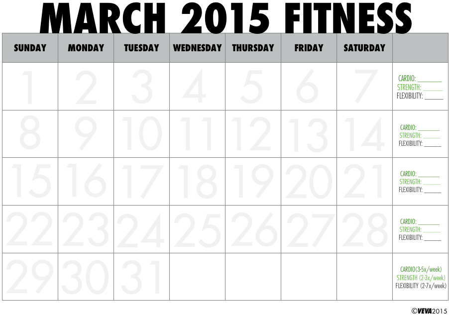 April 2015 Printable Fitness Calendar