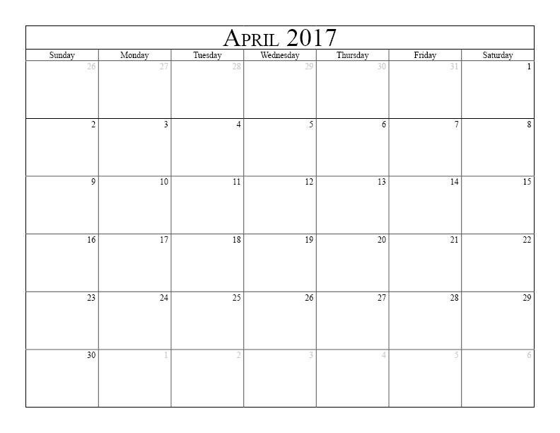 April 2017 Calendar Pdf
