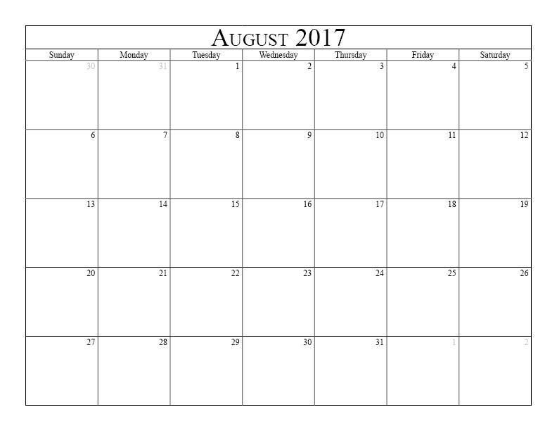 August 2017 Calendar Pdf