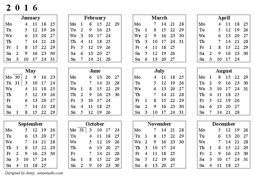 Basic Calendar 2016, Weeks Start On Monday, Horizontal Image