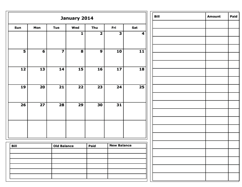 Awesome Budget Calendar Template
