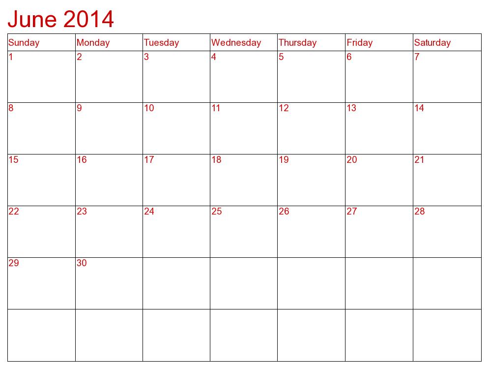 Best Photos Of June 2014 Calendar Printable Template