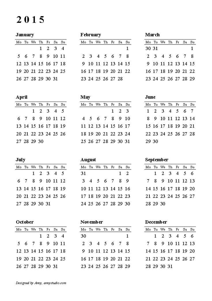 Calendar 2015, Weeks Start On Monday, Black And White