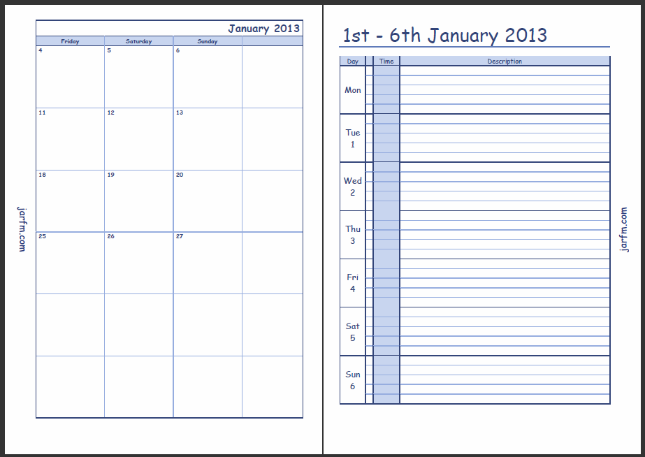 Calendar 2016 Printable With Time