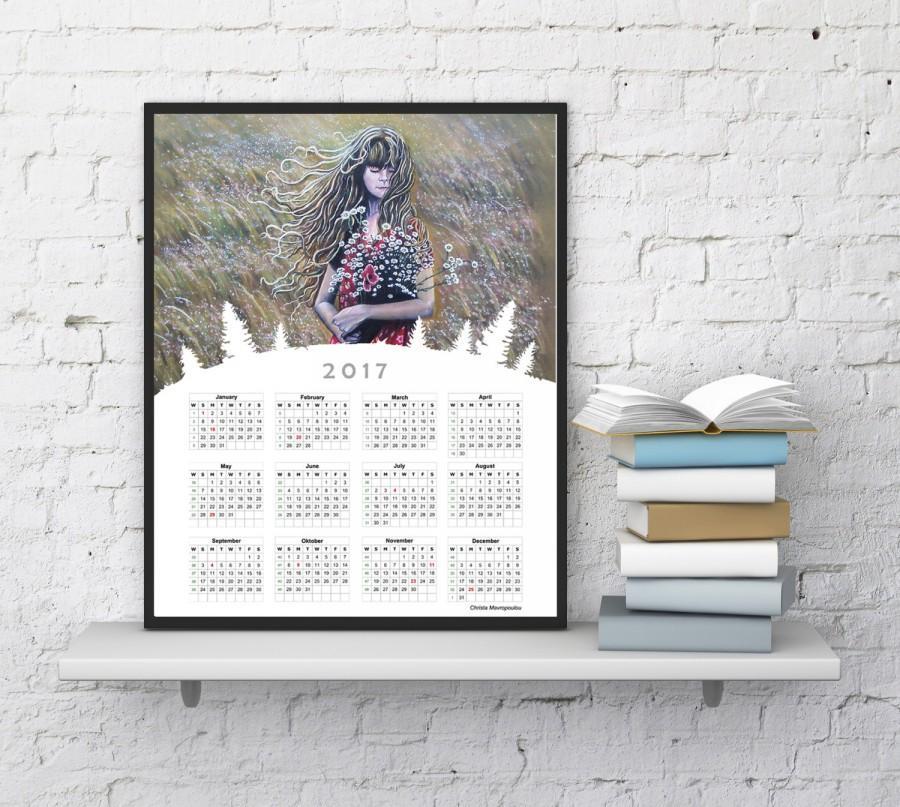 Calendar 2017 Print, Girl Print, Girl Painting, Girl With Flowers