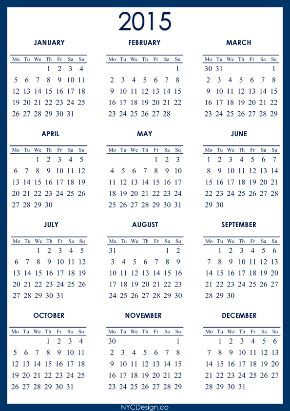 5 Year Calendar Printable Calendar Template 2018