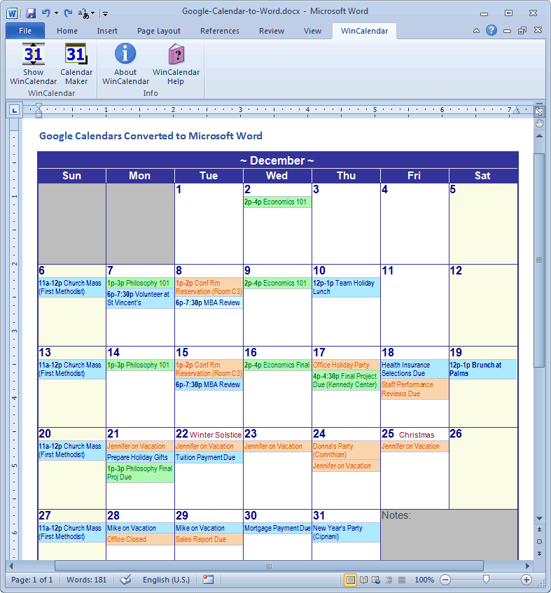 Calendars To Print And Edit