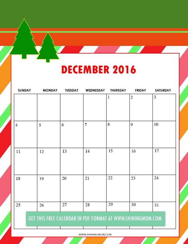 Christmas Printable 2016 Calendar Template