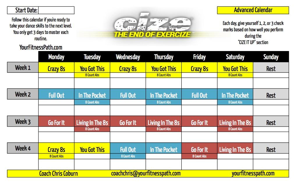 Cize Workout Calendar