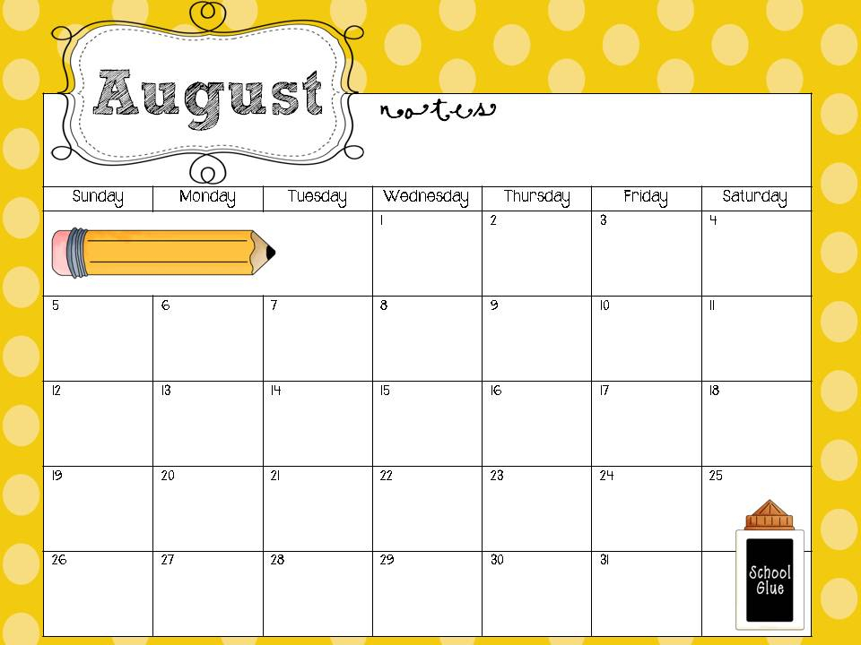 Classroom Calendar Template