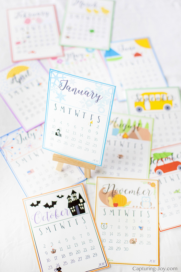 Cute And Colorful 2016 Desk Calendar
