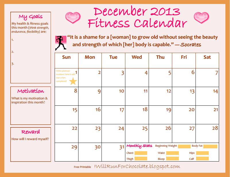 December Fitness Calendar Printable!