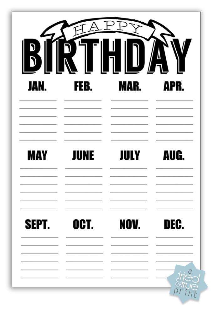 Easy Chalkboard Birthday Calendar