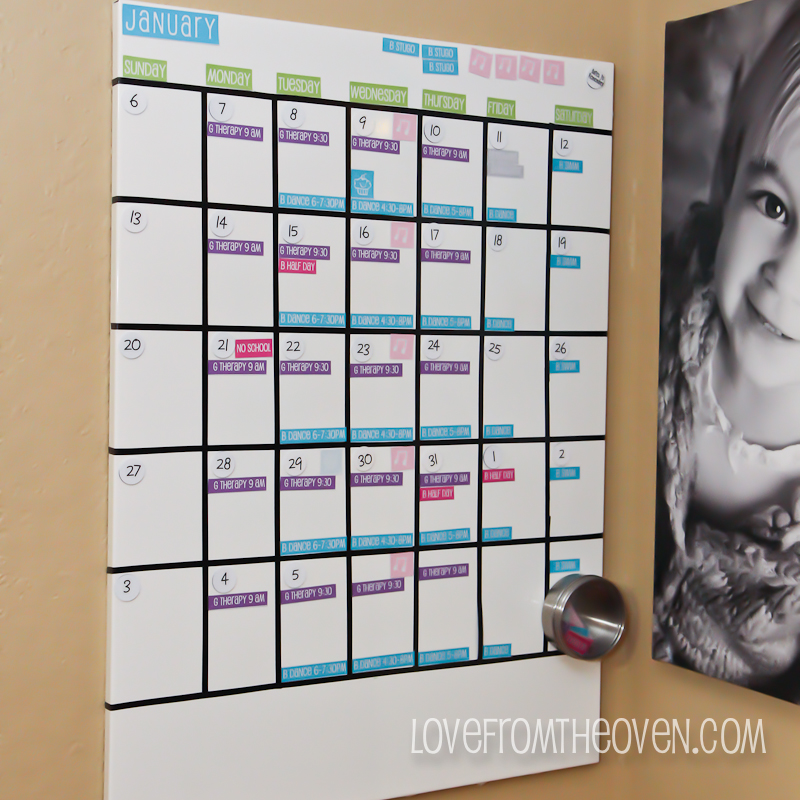 Family Magnetic White Board Calendar With Free Printable Labels By