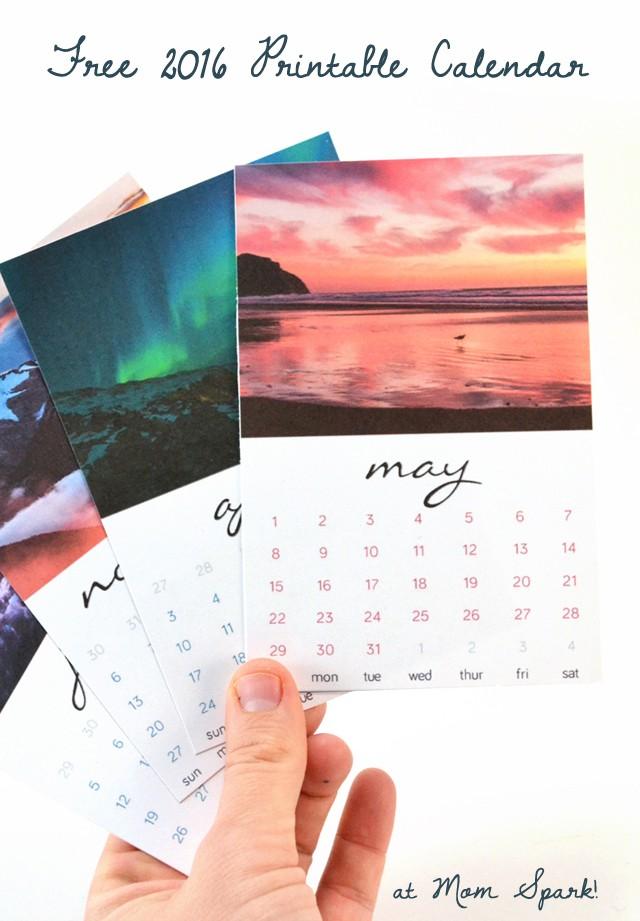 Free 2016 Printable Calendar Cards