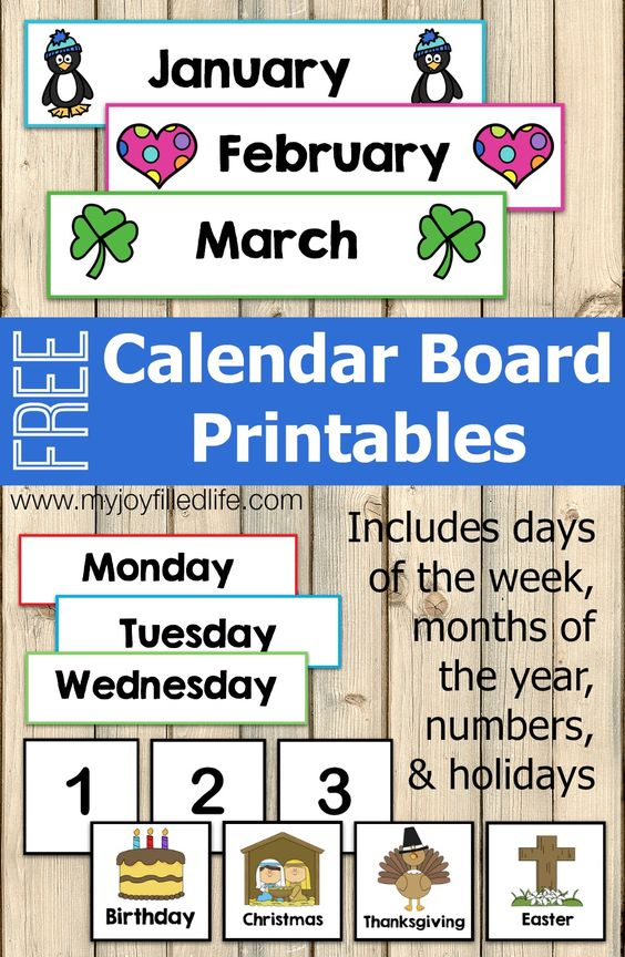 Free Calendar Board Printables