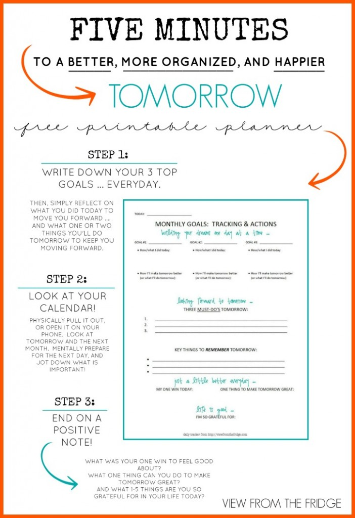 Free Daily Planner Printable {5 Minutes To A Better, More