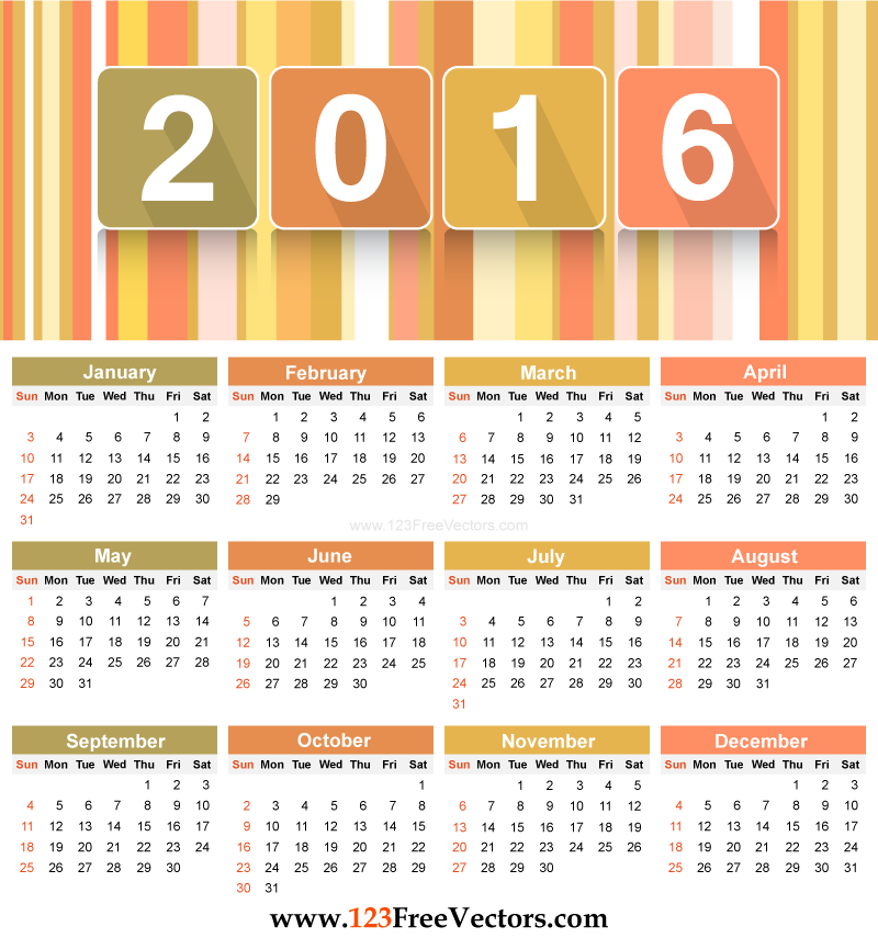 Free Download Printable Calendar Template 2016 Vector Illustration