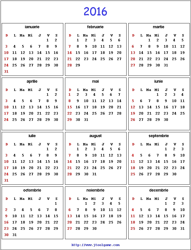 Free Lined Monthly Calendars 2016