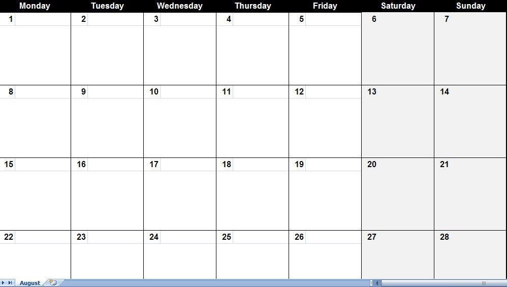 Blank Calendar Generator : Printable calendar generator template