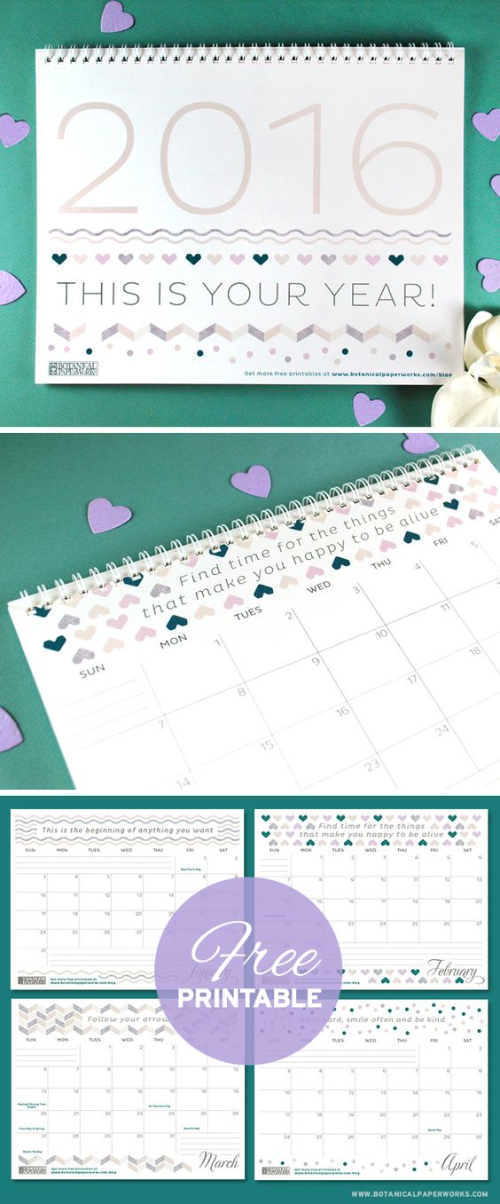 Free Printable Calendar For Year 2016, There Are Three Different
