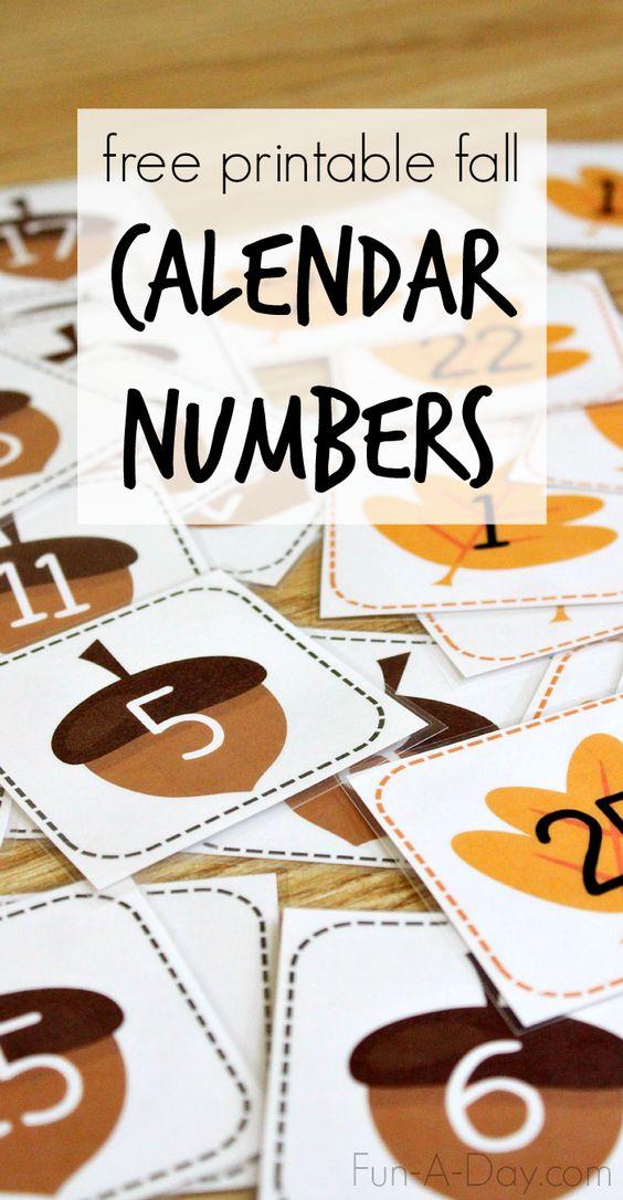 Free Printable Calendar Numbers For Fall