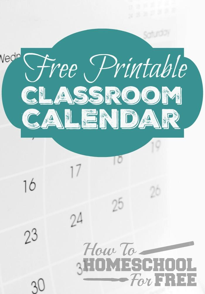 Free Printable Classroom Calendar!