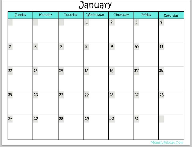 Free Printable Monthly Calendar 2015