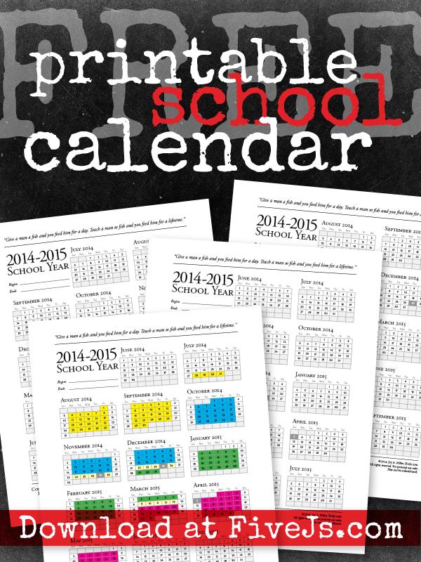 Free Printable School Calendar For 2016