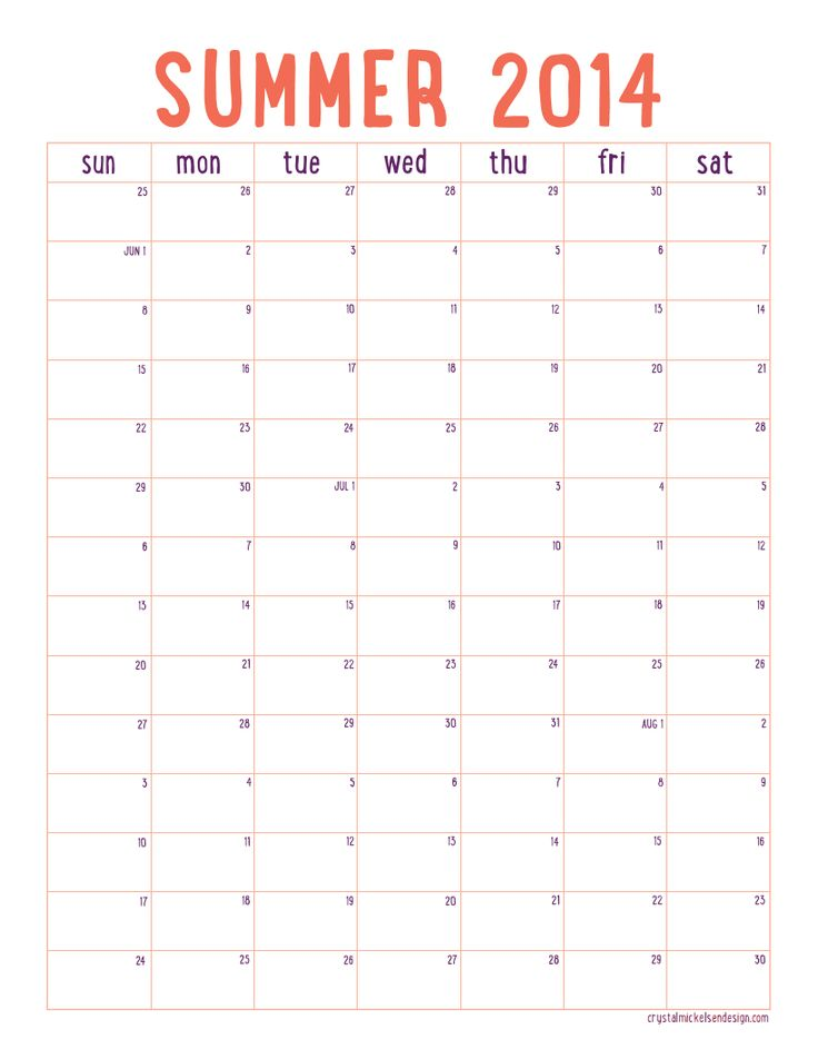 Free Printable Summer 2014 Calendar