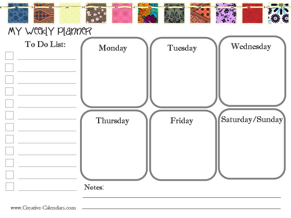 Printable Weekly Calendar For Kids  Calendar Template