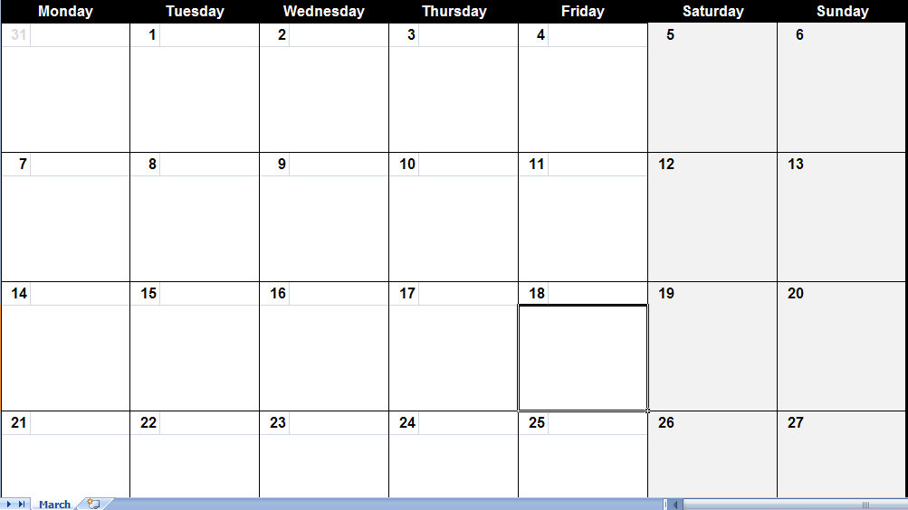 Full Page Printable Calendar 187 Calendar Template 2018