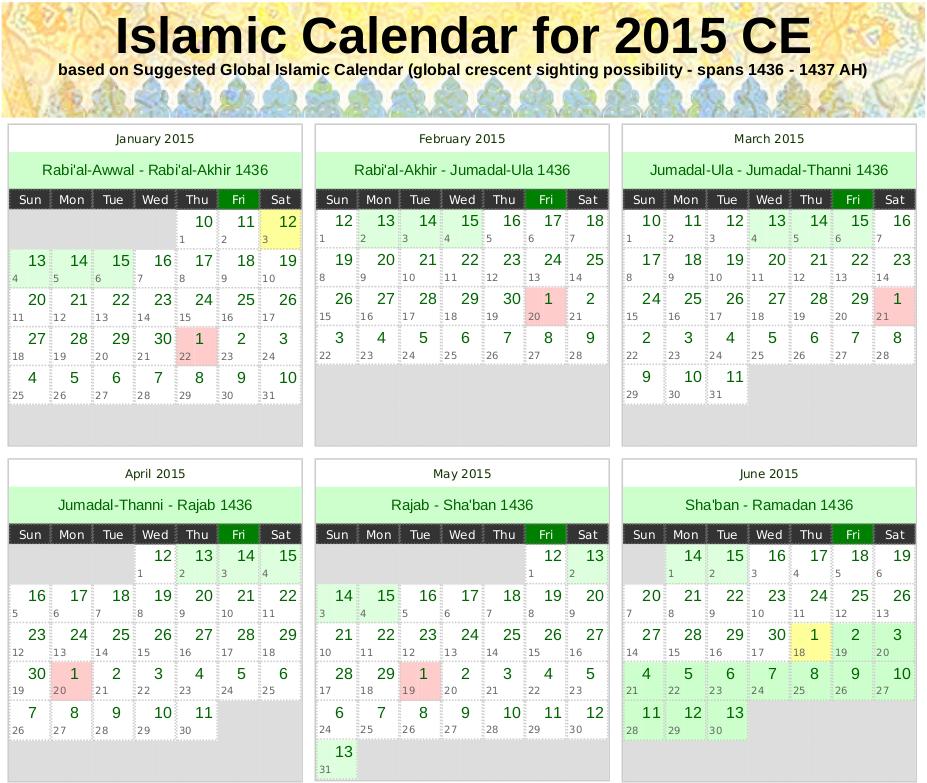 Islamic Calendar Months In Arabic 1437