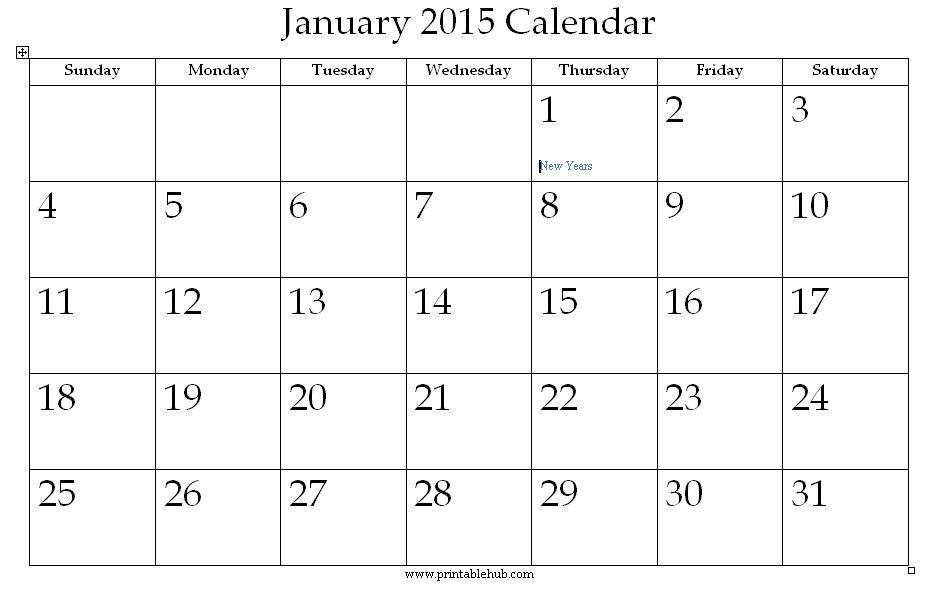 January 2015 Printable Calendar Â« Printable Hub