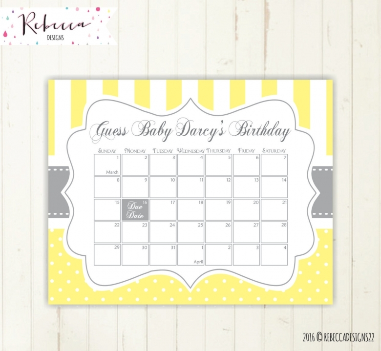 July 2016 Calendar Printable Baby Due Guessing